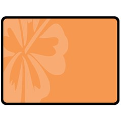 Hibiscus Sakura Tangerine Orange Double Sided Fleece Blanket (Large)
