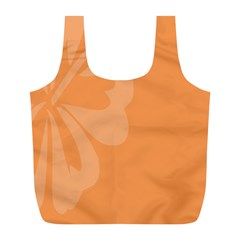 Hibiscus Sakura Tangerine Orange Full Print Recycle Bags (L)