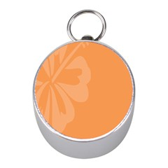 Hibiscus Sakura Tangerine Orange Mini Silver Compasses