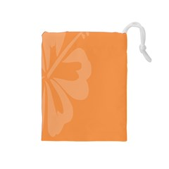 Hibiscus Sakura Tangerine Orange Drawstring Pouches (Medium)