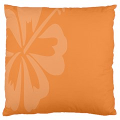 Hibiscus Sakura Tangerine Orange Large Flano Cushion Case (One Side)