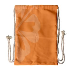 Hibiscus Sakura Tangerine Orange Drawstring Bag (Large)