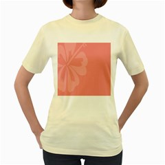 Hibiscus Sakura Strawberry Ice Pink Women s Yellow T-Shirt