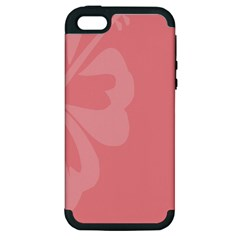 Hibiscus Sakura Strawberry Ice Pink Apple iPhone 5 Hardshell Case (PC+Silicone)