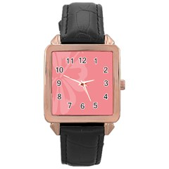 Hibiscus Sakura Strawberry Ice Pink Rose Gold Leather Watch