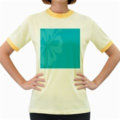 Hibiscus Sakura Scuba Blue Women s Fitted Ringer T-Shirts