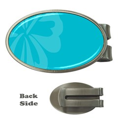 Hibiscus Sakura Scuba Blue Money Clips (oval)