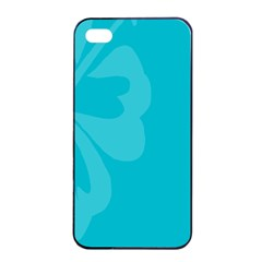 Hibiscus Sakura Scuba Blue Apple iPhone 4/4s Seamless Case (Black)