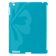 Hibiscus Sakura Scuba Blue Apple iPad 3/4 Hardshell Case (Compatible with Smart Cover)