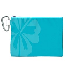 Hibiscus Sakura Scuba Blue Canvas Cosmetic Bag (XL)