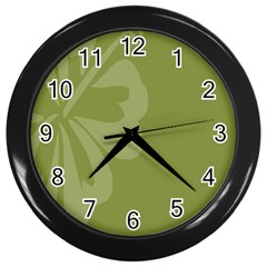 Hibiscus Sakura Woodbine Green Wall Clocks (Black)