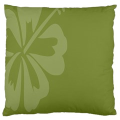 Hibiscus Sakura Woodbine Green Standard Flano Cushion Case (Two Sides)