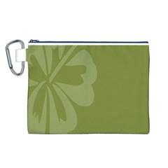 Hibiscus Sakura Woodbine Green Canvas Cosmetic Bag (L)