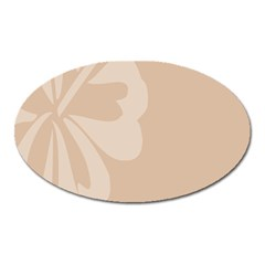 Hibiscus Sakura Toasted Almond Grey Oval Magnet
