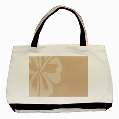 Hibiscus Sakura Toasted Almond Grey Basic Tote Bag