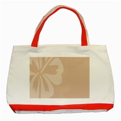 Hibiscus Sakura Toasted Almond Grey Classic Tote Bag (Red)