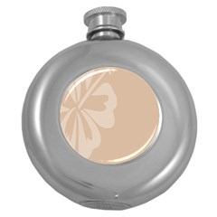 Hibiscus Sakura Toasted Almond Grey Round Hip Flask (5 oz)