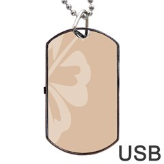 Hibiscus Sakura Toasted Almond Grey Dog Tag USB Flash (Two Sides)