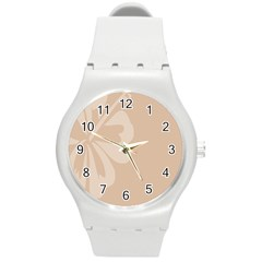 Hibiscus Sakura Toasted Almond Grey Round Plastic Sport Watch (M)