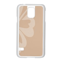 Hibiscus Sakura Toasted Almond Grey Samsung Galaxy S5 Case (White)