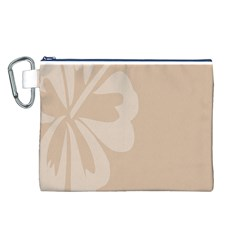 Hibiscus Sakura Toasted Almond Grey Canvas Cosmetic Bag (L)