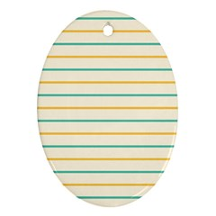 Horizontal Line Yellow Blue Orange Ornament (Oval)