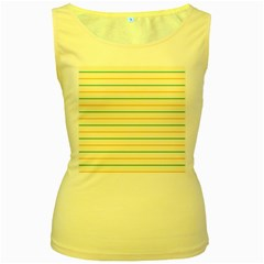 Horizontal Line Yellow Blue Orange Women s Yellow Tank Top