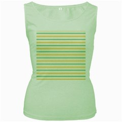 Horizontal Line Yellow Blue Orange Women s Green Tank Top