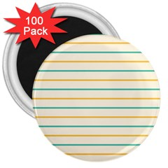 Horizontal Line Yellow Blue Orange 3  Magnets (100 pack)