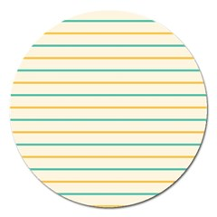 Horizontal Line Yellow Blue Orange Magnet 5  (Round)