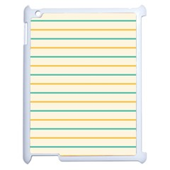 Horizontal Line Yellow Blue Orange Apple iPad 2 Case (White)