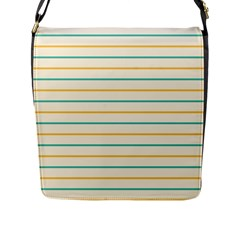 Horizontal Line Yellow Blue Orange Flap Messenger Bag (L)