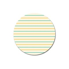 Horizontal Line Yellow Blue Orange Magnet 3  (Round)
