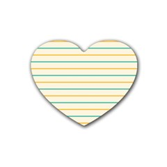 Horizontal Line Yellow Blue Orange Rubber Coaster (Heart)