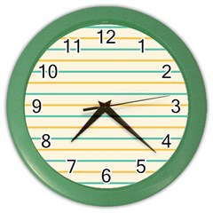 Horizontal Line Yellow Blue Orange Color Wall Clocks