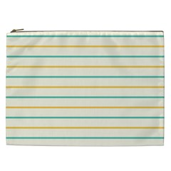 Horizontal Line Yellow Blue Orange Cosmetic Bag (XXL)