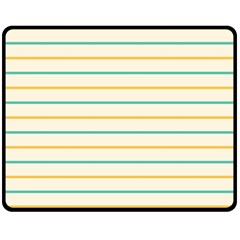 Horizontal Line Yellow Blue Orange Double Sided Fleece Blanket (Medium)
