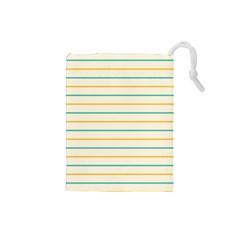 Horizontal Line Yellow Blue Orange Drawstring Pouches (Small)