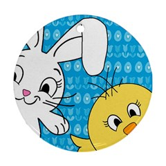 Easter bunny and chick  Round Ornament (Two Sides)