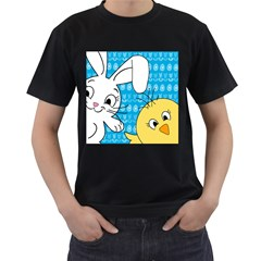 Easter bunny and chick  Men s T-Shirt (Black)