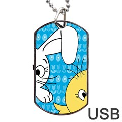 Easter bunny and chick  Dog Tag USB Flash (Two Sides)