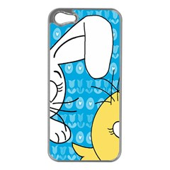 Easter bunny and chick  Apple iPhone 5 Case (Silver)