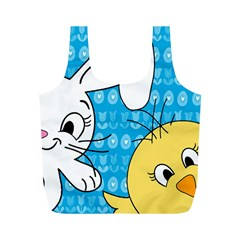 Easter bunny and chick  Full Print Recycle Bags (M)