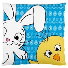 Easter bunny and chick  Large Flano Cushion Case (One Side)