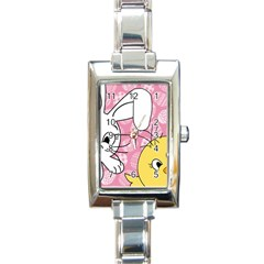 Easter bunny and chick  Rectangle Italian Charm Watch