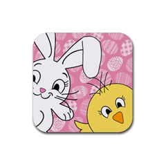 Easter bunny and chick  Rubber Coaster (Square)