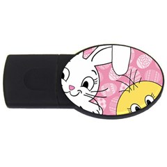 Easter bunny and chick  USB Flash Drive Oval (1 GB)