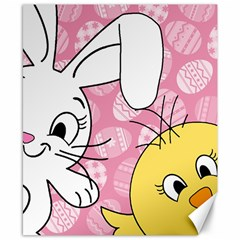 Easter bunny and chick  Canvas 8  x 10