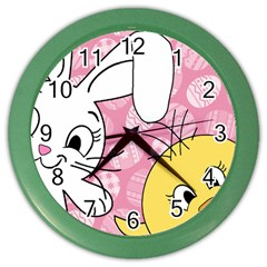 Easter bunny and chick  Color Wall Clocks