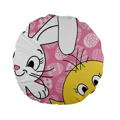 Easter bunny and chick  Standard 15  Premium Round Cushions
